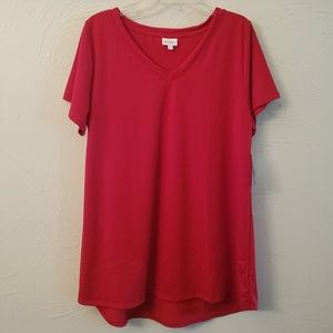 LulaRoe Red Christy T Solid 2xl